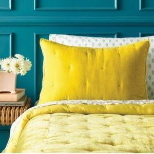 NWT Opal House yellow velvet sham